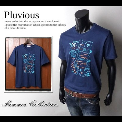 送料無料 メンズ Tシャツ 半袖 PLUVIOUS マップグラフィックデザイン クルーネック 綿100% メール便対応