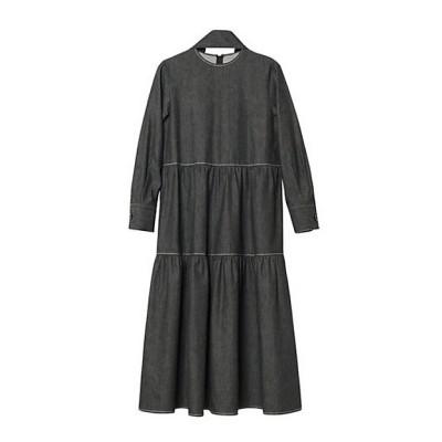 <LE CIEL BLEU(Women)/ルシェルブルー> Denim Tiered Dress 13(ブラック)【三越伊勢丹/公式】