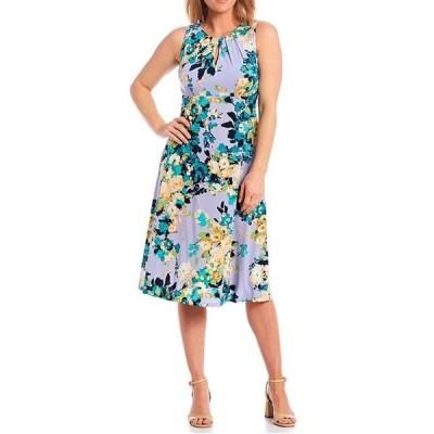ロンドンタイムス レディース ワンピース トップス Petite Size Sleeveless Keyhole Floral Midi Dress