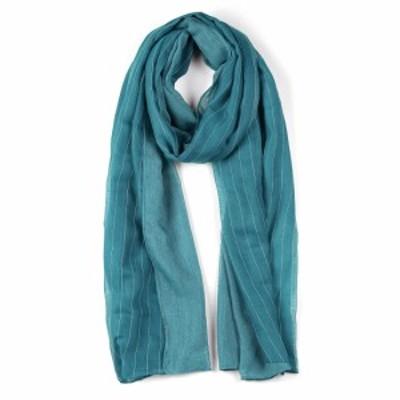 uxcell ロングスカーフ ストライプ柄 スカーフ 薄手 女性用 ターコイズ 180x80cm