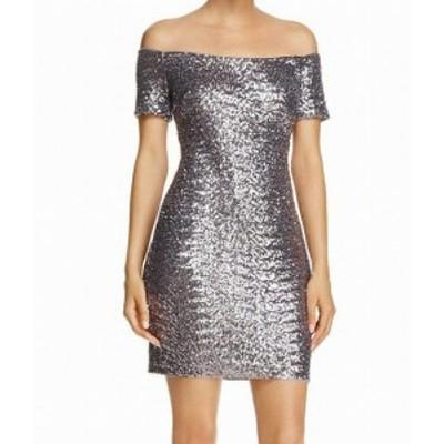 Aidan Mattox エイダンマトックス ファッション ドレス Aidan Mattox NEW Silver Womens Size 0 Sequin Off-Shoulder Dress