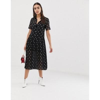 エイソス レディース ワンピース トップス ASOS DESIGN pleated midi shirt dress in mono polka dot