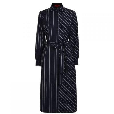 ヒューゴ ボス Hugo レディース ワンピース シャツワンピース ワンピース・ドレス Striped Shirt Dress Navy