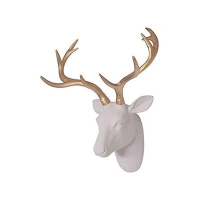 Smarten Arts 人工鹿の頭 壁装飾 ホワイトフェイクファー フェルト/ベルベット製 樹脂鹿の頭 ゴールドの角付き 自宅/バー/オフィス用 サ[平行輸入