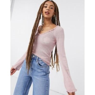 エイソス レディース ニット・セーター アウター ASOS DESIGN sweater with open neck and frill detail in blush Blush