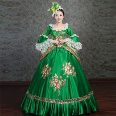 プリンセスライン 公爵夫人 歌劇 宮廷服 髪飾り付き ラッパ 袖 プリンセスラインお姫様ドレス 舞台 中世 貴族 衣装  ロングドレス
