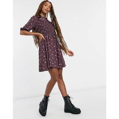 エイソス ASOS DESIGN レディース ワンピース スケータードレス ミニ丈 Shirred Mini Skater Dress With Peter Pan Frill Collar In Polka Dot