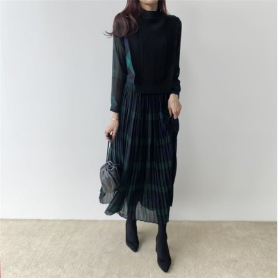 【お時間限定SALE】韓国ファッション 洋風 気質 縫付 フェイク2ピース 大人気 プリーツ チェック柄 怠惰な風 トレンド ニットワンピース ロングスカート ファッション