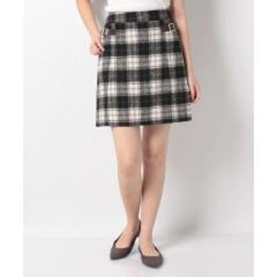イングシャギーチェック台形スカート