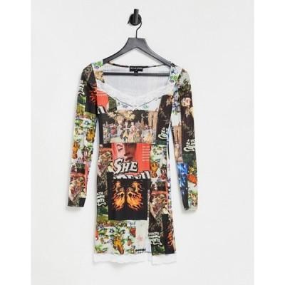 ニューガールオーダー レディース ワンピース トップス New Girl Order square neck mini dress in mixed print