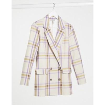 エイソス レディース ジャケット・ブルゾン アウター ASOS DESIGN jersey dad blazer in large scale pastel check Check