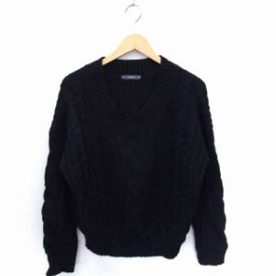 【中古】ニット セーター ケーブル編み Vネック 長袖 ブラック 黒 /FT12 レディース