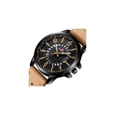 (コーヒー)VA VA VOOM VA-206カジュアルスタイル日付表示屋外クォーツ時計レザーバンドメンズウォッチ