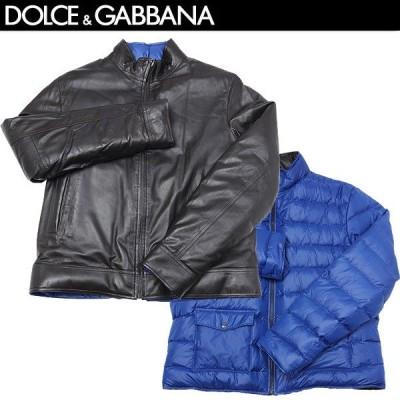 【送料無料】 ドルチェ&ガッバーナ(DOLCE&GABBANA) メンズ リバーシブル ラムスキン レザー ダウン ジャケット G9U34L FULVS N0190 ダークブラウン/ブルー