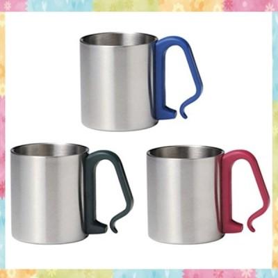 ステンレスマグカップ 3個セット(ブルー レッド グリーン)持ち手がカラビナ形状 リュックやロープに付けら