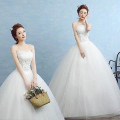 ウエディングドレス レディース プリンセスドレス 編み上げ ブライダルドレス 花嫁 Aライン ロング丈 演奏会 前撮り ドレス
