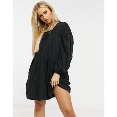 エイソス レディース ワンピース トップス ASOS DESIGN oversized tiered smock dress in black Black