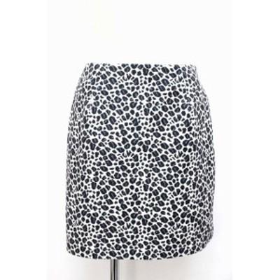 【中古】スライ SLY スカート ショート ミニ アニマル 総柄 パターン 台形 2 ブラック 黒 /BT4 レディース