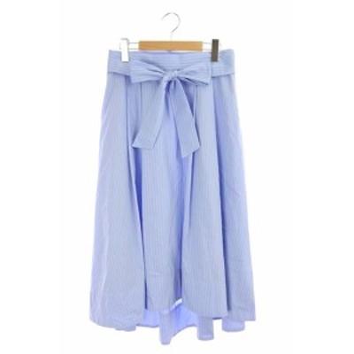 【中古】ジェイプレス 洗える ANGEL リボン付きフレアスカート ロング ストライプ 11 水色 /YS ■OS レディース