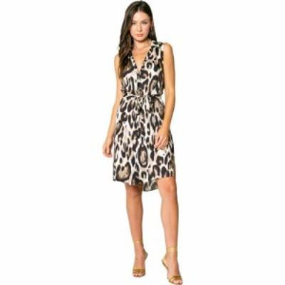 ラベンダーブラウン LAVENDER BROWN レディース ワンピース シャツワンピース ノースリーブ Cheetah Printed Sleeveless Shirtdress Taup