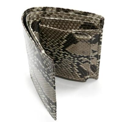 財布 二つ折り財布 折り財布  無双 ヘビ 蛇 パイソン 革 へび レディース メンズ ボックス型小銭入れ付 ナチュラル