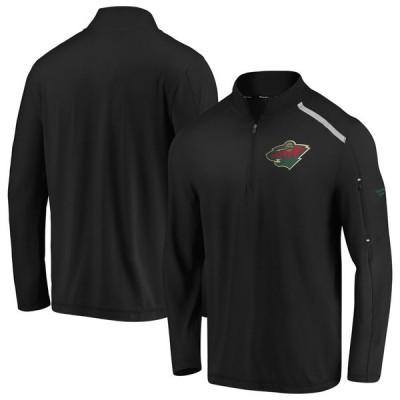 ミネソタ・ワイルド Fanatics Branded Authentic Pro Clutch Quarter-Zip Pullover ジャケット - Black