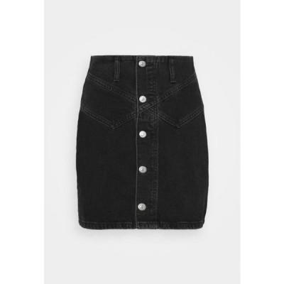 トップショップ レディース ファッション BUTTON YOKE SKIRT - Mini skirt - washed black