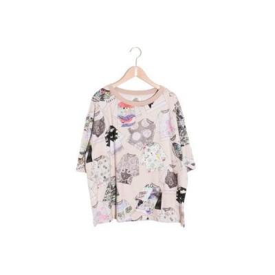 スカラー ScoLar -スカラーTシャツ柄6分袖Tシャツ (ピンク)