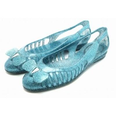 【靴】Salvatore Ferragamo サルヴァトーレ フェラガモ リボン パンプス ラバー サンダル ビニール ラメ グリッター ブルー #6