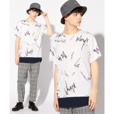 tシャツ Tシャツ フェイクレイヤード総柄プリントTシャツ
