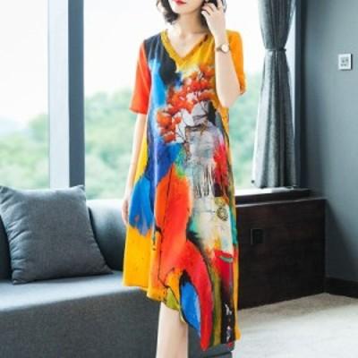 レディースファッション 高品質2020サマードレス女性服Vネックプリントレトロ緩い半袖ドレス大高品質エレガントvestidos  high quali