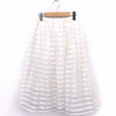 【中古】サロンドバルコニー Salon de Balcony スカート ボーダー チュール フレア ロング F ホワイト 白 /FT8