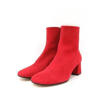 【中古】マリサレイ MARISA REY ブーツ ショート チャンキーヒール スエード 37 24cm 赤 レッド /AK2 レディース 【ベクトル 古着】