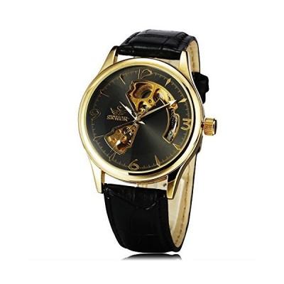 (新品) SEWOR Brand Retro Luxury Hollow Leather Watch Strap Men's Clock Automatic Mechanical Auto Watch (Gold(Black))