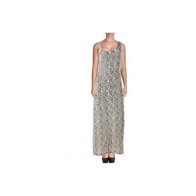 ドレス 女性  セオリー Theory 8661 レディース ブラック-アイボリー ノースリーブ プリントed Maxi ドレス M