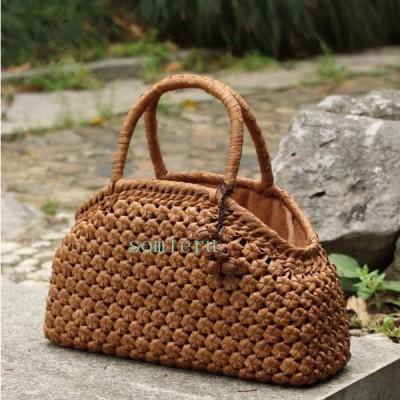 高級品 山葡萄かごバッグ 可愛い 花編みやまぶどう籠 手編みバッグ 収納力抜群 送料無料