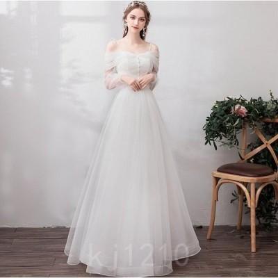 ウェデイングドレス花嫁ドレスキャミソールワンピース白ドレス二次会お呼ばれシンプルマキシドレス結婚式新婚旅行透け感2タイプ