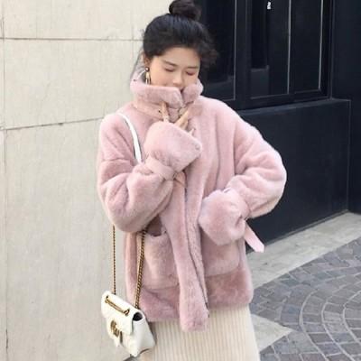ファーコート レディース ウォーマージャケット 可愛いコート あったか 保温 無地ジャケット 厚手 カジュアル もこもこ 可愛い 秋冬 送料無料