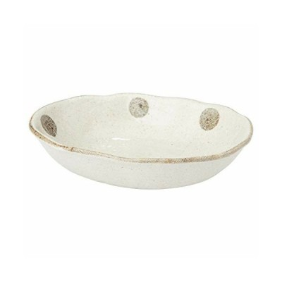 美濃焼 水玉白唐津 楕円浅小鉢 K52024