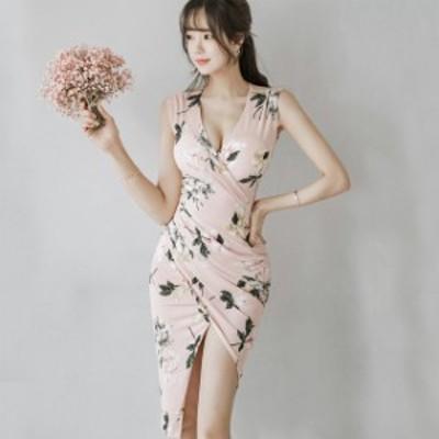タイトワンピース ノースリーブ プリント花柄 ワンピース Vネック スリット セクシーワンピース 韓国風 キャバドレス ピンク