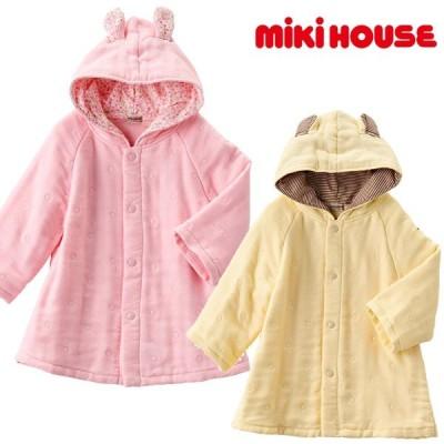 ミキハウス MIKI HOUSE 6層織りガーゼ素材のベビーバスローブ アイボリー ピンク 通気性 吸水性 速乾性 70 80 90cm