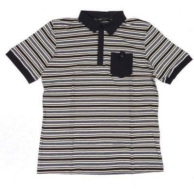 SEAN JOHN ショーンジョン 細ラインボーダー 半袖ポロシャツ (カーキ/ブラック) 並行輸入品