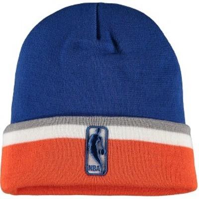ミッチェル&ネス メンズ 帽子 アクセサリー New York Knicks Mitchell & Ness League Team Stripe Cuffed Knit Hat Blue