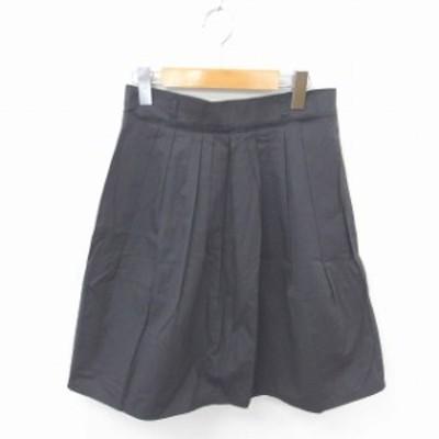 【中古】ボールジー トゥモローランド スカート フレア ひざ丈 無地 シンプル 薄手 綿 コットン 38 チャコールグレー
