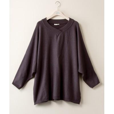 【大きいサイズ】 重ねVネックドルマンゆるシルエットニットチュニック【bi abbey】 (大きいサイズレディース、ニット・セーター)plus size sweater, テレワーク, 在宅, リモート