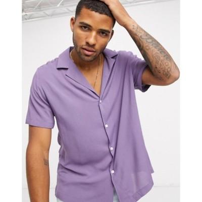 エイソス メンズ シャツ トップス ASOS DESIGN relaxed fit viscose shirt with low revere collar in purple