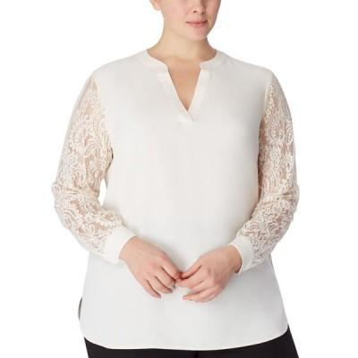 アンクライン カットソー トップス レディース Plus Size Lace Sleeve Top Anne White