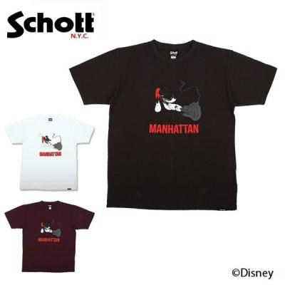 Schott×DISNEY T-SHIRT MANHATTAN ショット×ディズニーTシャツマンハッタン 3103133 【Tシャツ/半袖/ミッキー/アウトドア】【メール便・代引不可】
