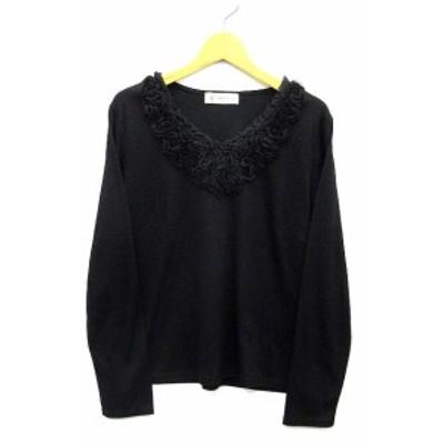 【中古】アリスバーリー Aylesbury カットソー Tシャツ Vネック 胸元フリル フラワー 長袖 ブラック 黒 L レディース