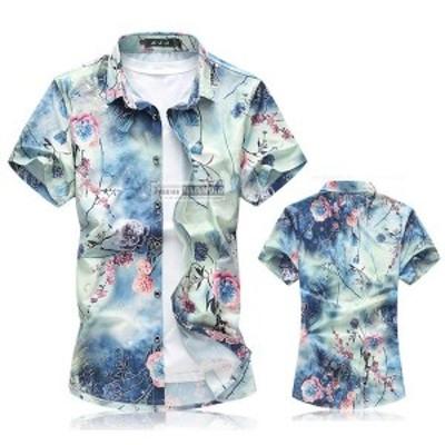 半袖シャツ メンズ カジュアルシャツ 花柄 アロハシャツ リゾートビーチ 大きいサイズ おしゃれ 2018夏